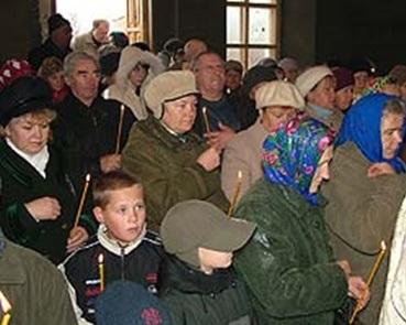 Первая служба в храме Дмитрия Солунского в с. Тепловка